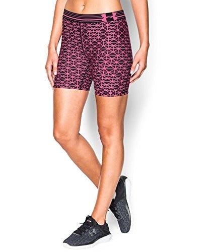 Under Armour Womens HeatGear Printed Mid Shorts, Black/Pink Punk/Metallic Silver, Large
