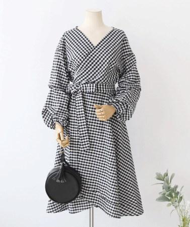 女性らしいサンゴバンチェックパターン秋フレアラップワンピース30495デイリールックkorea women fashion style