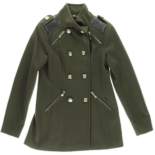 Vince Camuto Womens Military Double Breasted Wool Coat, Olive, X-Small
