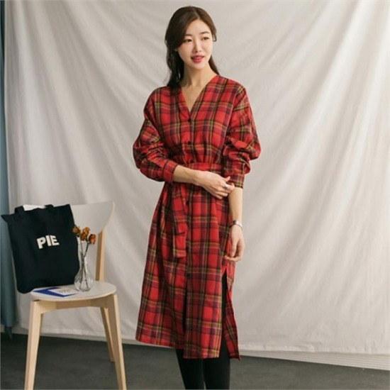 るみさん行き来するようにるみさんタータンチェックブイシャツ、ワンピース プリントのワンピース/ 韓国ファッション