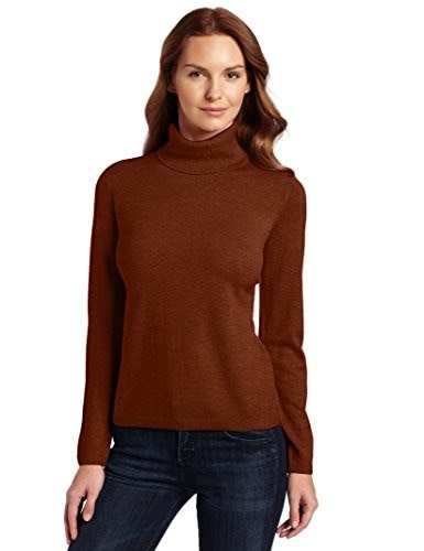 Pendleton Womens Classic Merino Turtleneck Sweater, Red Ochre Heather, X-Large