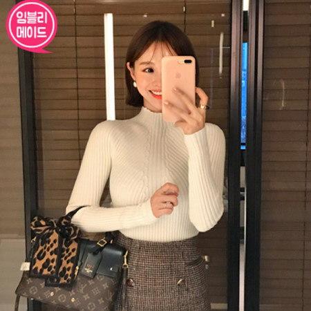 【Imvely]グラマラス半ポーラニットkorean fashion style