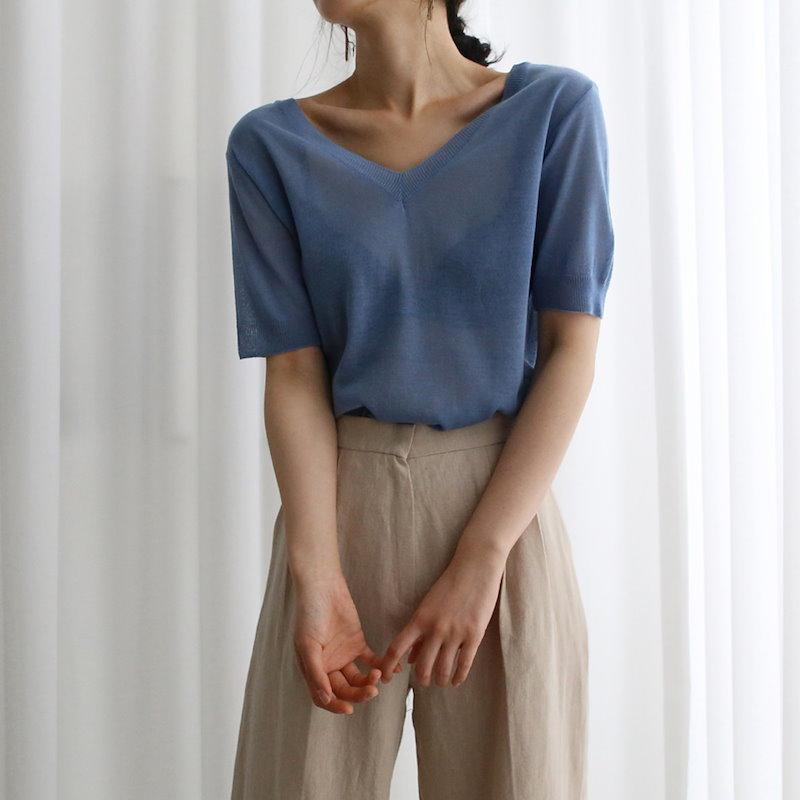 Vのシースルーニット4col korea fashion style