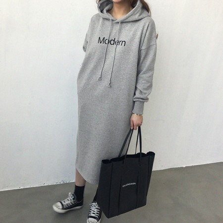 Modern brushed hooded dress Korean fashion style