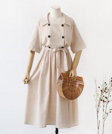 [B30297]スクエアネックダブルボタンフレアロングワンピースデイリールックkorea women fashion style