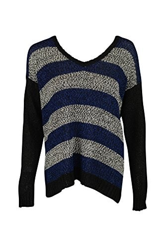 Kensie Womens Mixed Tape Yarn Striped Sweater, Striking Blue Combo, Small
