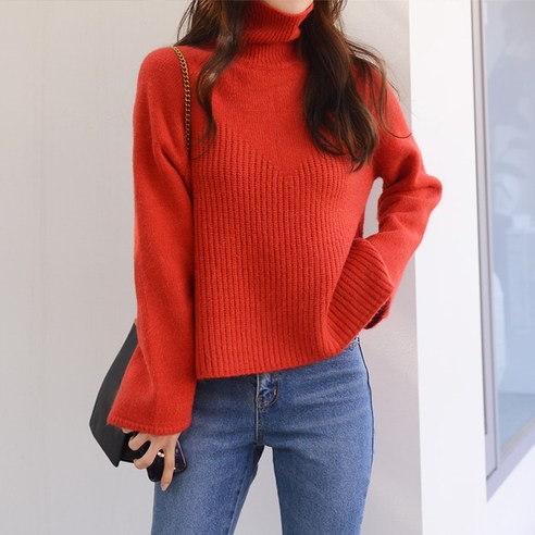 さらにムードF519エッグポーラニットkorean fashion style
