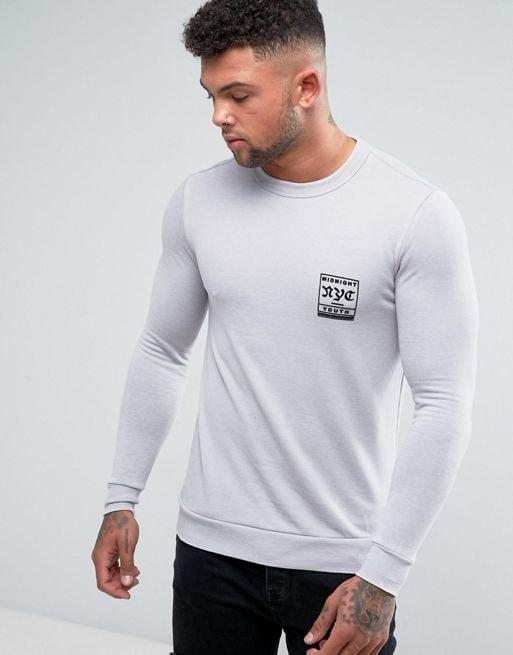 River Island Muscle Fit Sweatshirt In Gray