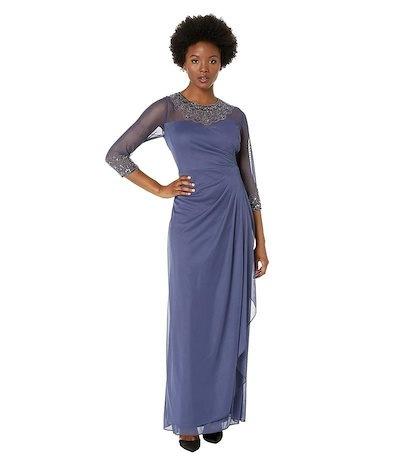 アレックスイブニングス レディース ワンピース トップス Petite Long A-Line Dress with Beaded Sweetheart Illusion Neckline