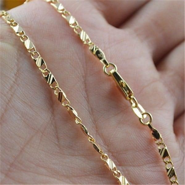 絶妙なファッション18K本物のゴールドはゴールデンネックレス16-24インチを満たした