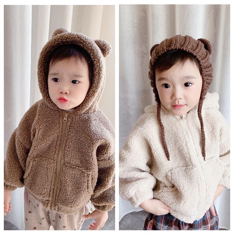 韓国子供服 ボアジャケット コート キッズ 熊の耳パーカー トレーナー トップス 子供服 / 長袖 上着 男の子 女の子 男女兼用 おしゃれな 可愛い 裹起毛80-130