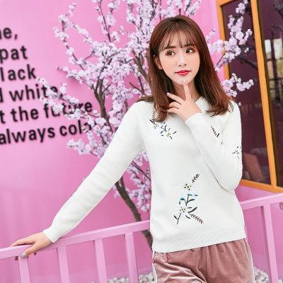 刺繍 ニット クルーネック 長袖 レディーズ女性 秋冬 ショートニット ゆったり スウィート ファッション