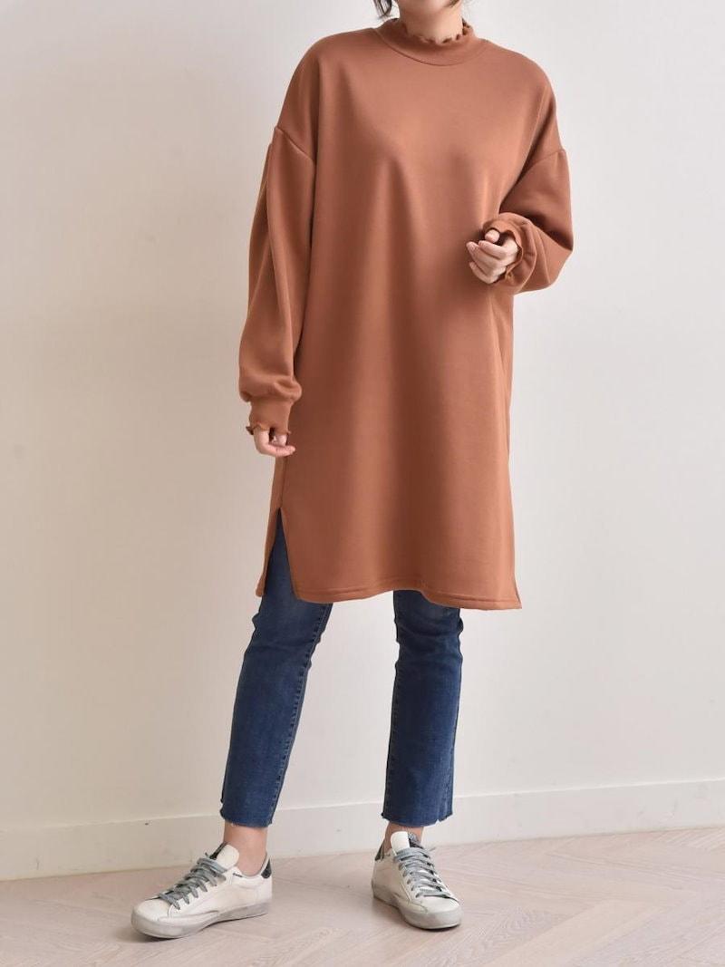 【送料無料】ワンピSALE|上品且つ女性らしいミディアム丈。露出度が少ないので、気になる下半身の体型カバーにも◎長袖 ワンピース スウェットワンピ tシャツワンピース 冬 オーバーサイズ 大きいサイズ