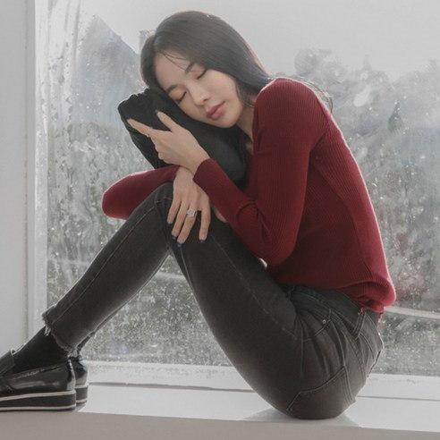 【WhiteFox]スリムフィット融合ニットシャツkorea fashion style free shipping