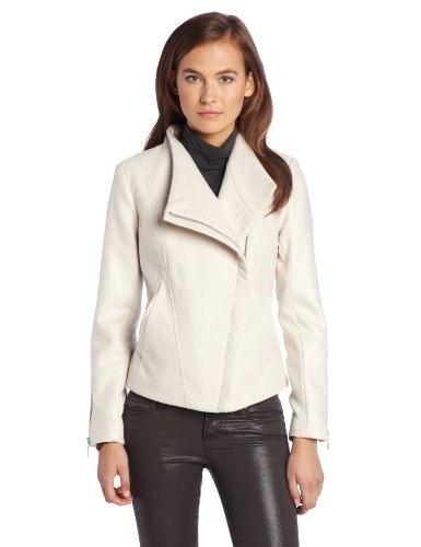 Kensie Womens Wool Jacket Metallic Snake Sleeves, Oatmeal, Small