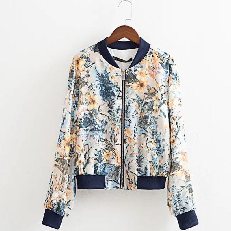 ファッション秋の女性の花のボンバージャケットサテンロングスリーブジッパー基本コーツChaquetas MUJER Jaqueta Feminina Nry8928