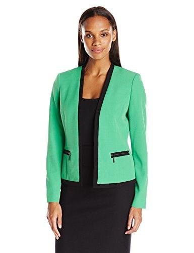 Kasper Womens Strecth Crepe Flyaway Jacket with Zippers, Leaf/Black, 14