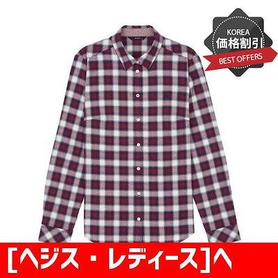[ヘジス・レディース]ヘジス・レディースHSSH8D005IVチェック面混紡長袖のシャツ /チェックシャツ/ブラウス/韓国ファッション