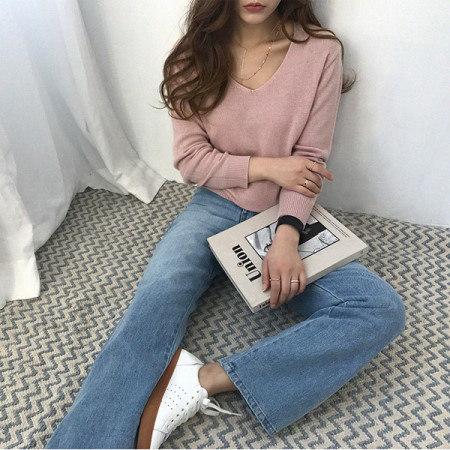 ホニアVネックウールニットKorean fashion style