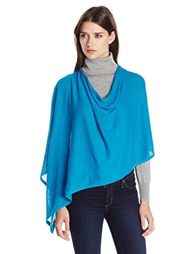 Minnie Rose Womens Cotton Ruana, Native Turquoise, One Size