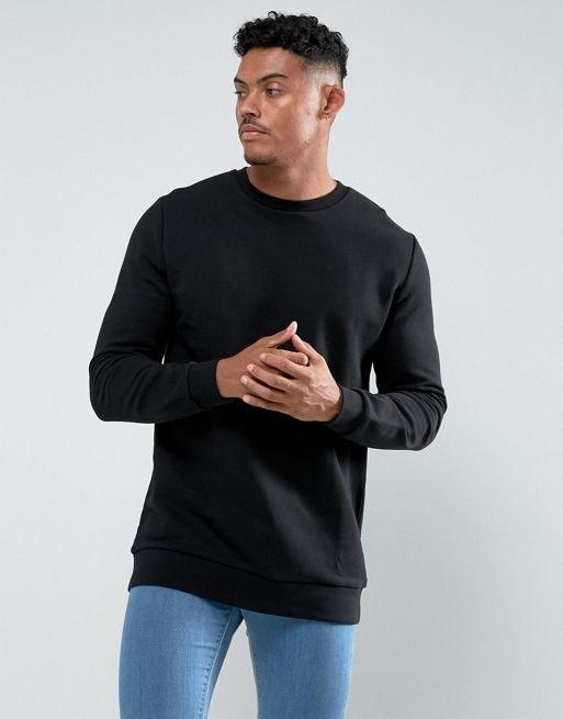 ASOS Longline Sweatshirt In Black