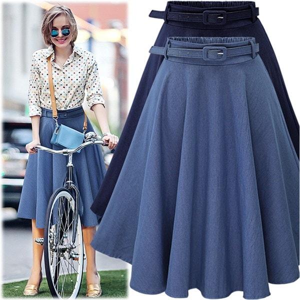 夏の新しいファッションレトロデニムフレアベルトスカート