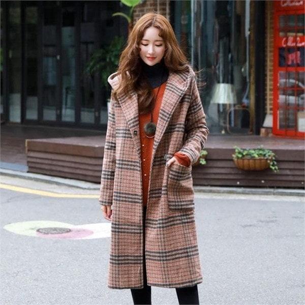 スタイルオンミライブルリチェックフード、ロングコートnew 女性のコート/ 韓国ファッション/ジャケット/秋冬/レディース/ハーフ/ロング/