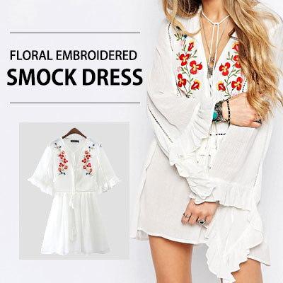 【送料無料】愛らしいフラワー刺繍がポイント!フローラル刺繍ストックドレス