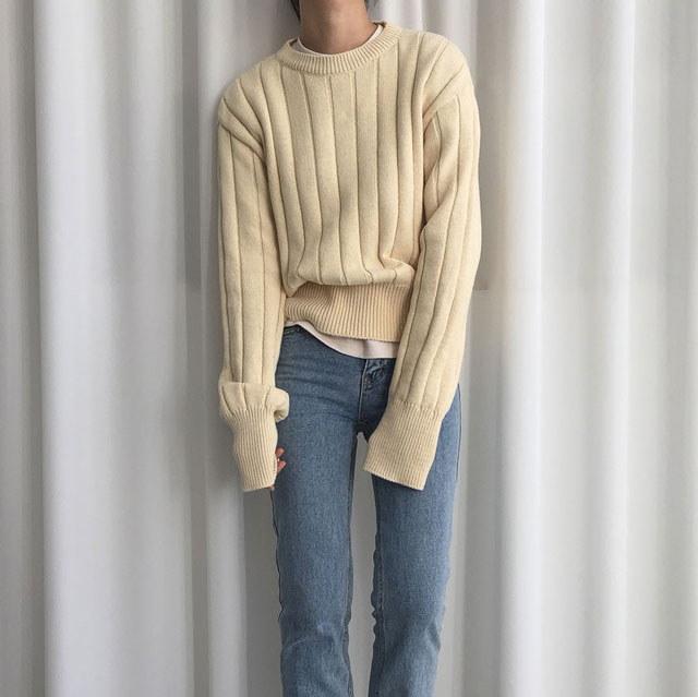 [ラルム】バター段ボールニット4col korea fashion style
