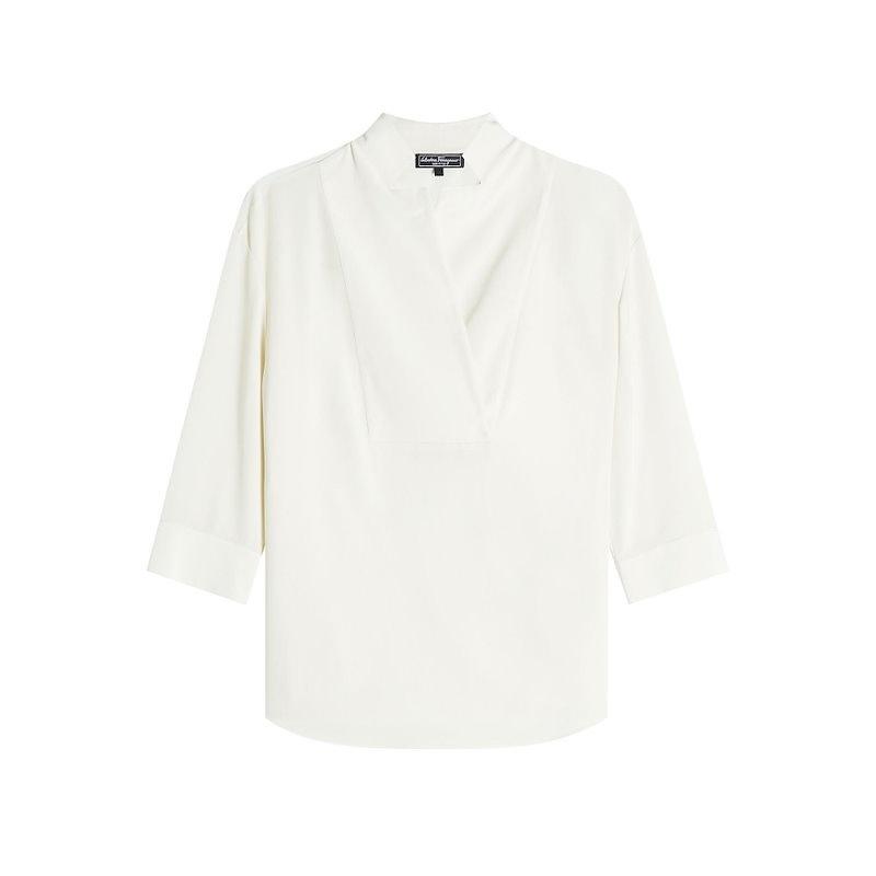 サルヴァトーレフェラガモ Salvatore Ferragamo レディース トップス ブラウス【Silk Blouse】white