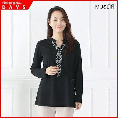 [モスリン]ママの服チャイナタイブラウスEBL901006 /シフォン/シースルーブラウス/韓国ファッション