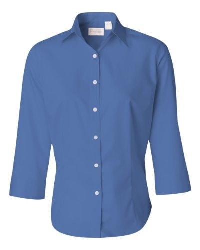Van Heusen Ladies 3/4-Sleeve Dress Twill M Cobalt Blue