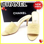 1d5c763802ae シャネル CHANEL ミュール シューズ 靴 メンズ可 #38 ココマーク ベージュ スエード 人気 【中古