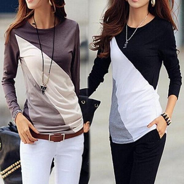 2016ファッション秋の女性の長袖のチュニックブラウスシャツ