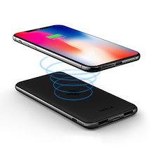 3c9045c365 モバイルバッテリー Qi ワイヤレス充電 8000mAh 薄型 おくだけ充電 Wireless ケータイ バッテリー 持ち運び 2 USB