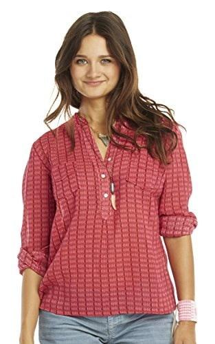 Carve Designs Womens Dylan Gauze Shirt, Medium, Strawberry Alpine