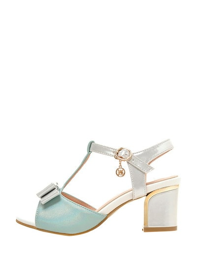 Preppy Style Bicolor Sweet Bowknot Buckle Pendant Mid Heel Sandals