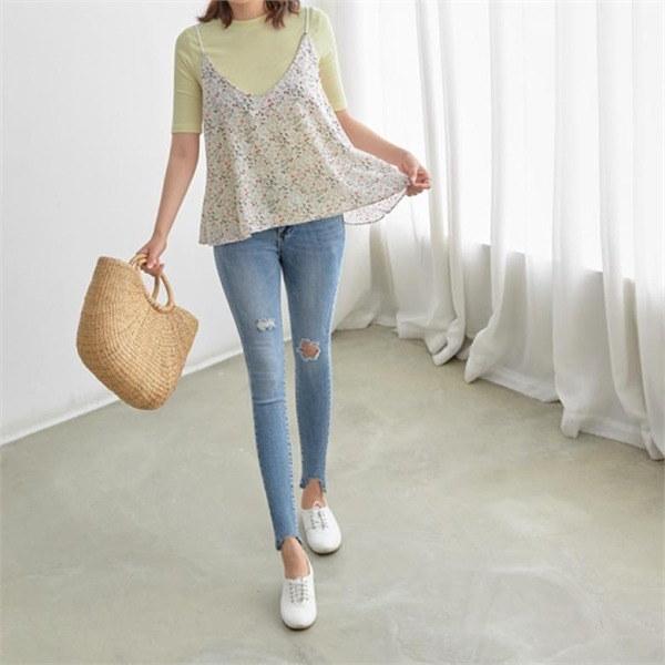ペッパーラブリーフラワー・パターンビュスチェ103885 new 女性ニット/ニットベスト/韓国ファッション