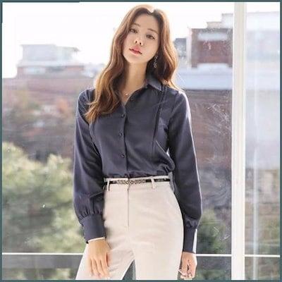 [スタイルオンミ][行き来するように/スタイルオンミ]サンダー・ピンタック・サテンブラウス /シフォン/シースルーブラウス/韓国ファッション