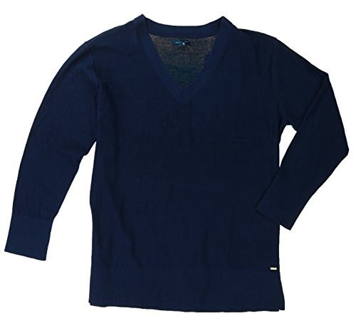 Tommy Hilfiger Womens V-neck Tunic Pullover Sweater (XX-Large, Navy)