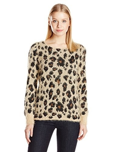 NY Collection Womens Long Sleeve Boat Neck Leopard Printed Feather Yarn Sweater Pullover, Lenny, X-Large