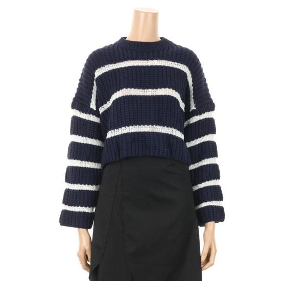 プラスチックアイルランド・ストライプワッフル・クロップニートPGEBY576 ニット/セーター/韓国ファッション