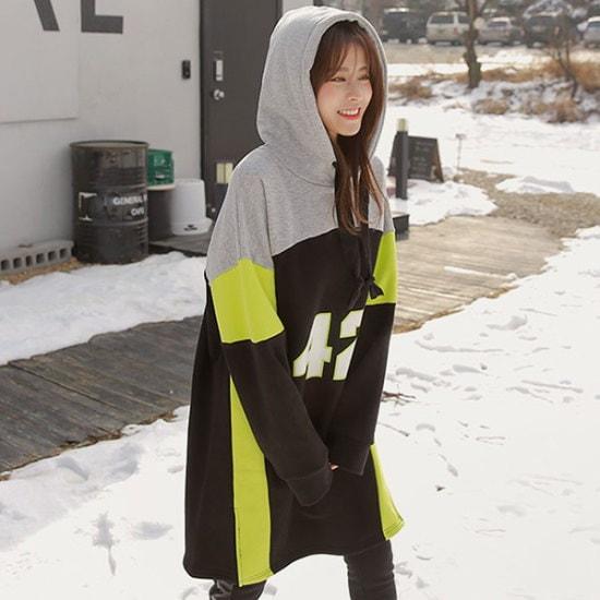 ピンクシスレー42配色起毛フードワンピース 綿ワンピース/ 韓国ファッション