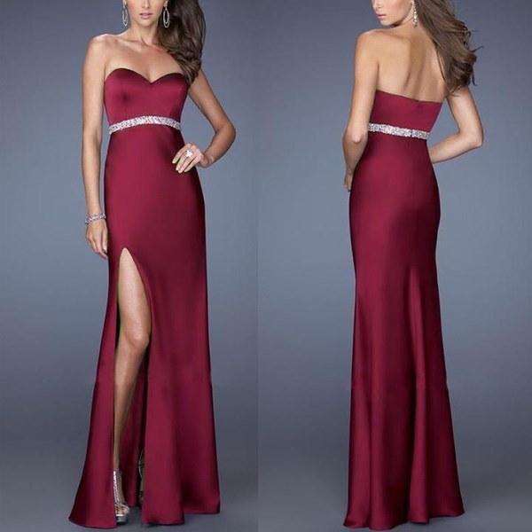 Women Summer Strapless Hollow Out Slim Waist Long Dresses