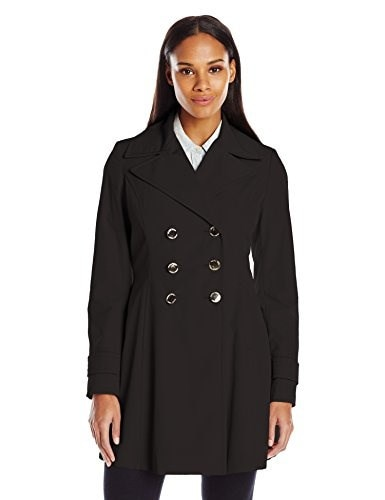 Ivanka Trump Womens Fit and Flare Trench Coat, Black, Small