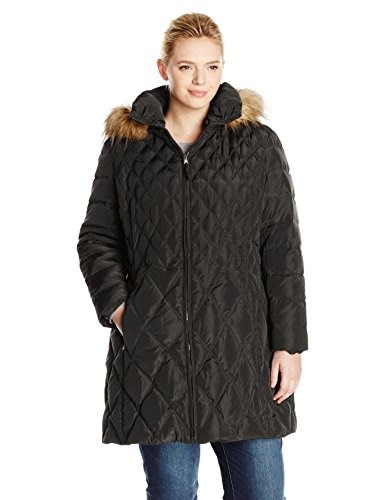 Jessica Simpson Womens Plus-Size Mid-Length Diamond Quilted Down Coat Plus, Black, 2X