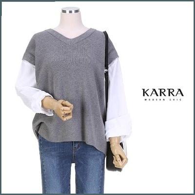 [カラインプラント]KARRAレイヤーシャツの袖Vネク・ニットKB9SKN031A /ニット/セーター/ニット/韓国ファッション
