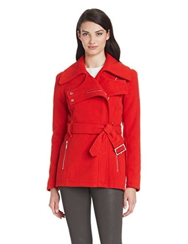 BCBGeneration Womens Zip Front Wool Jacket Jacket With Belt, Red, Small