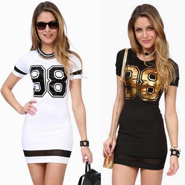 1PC女性の夏のカジュアルな半袖98プリントレディスリムセクシーなドレスファッション