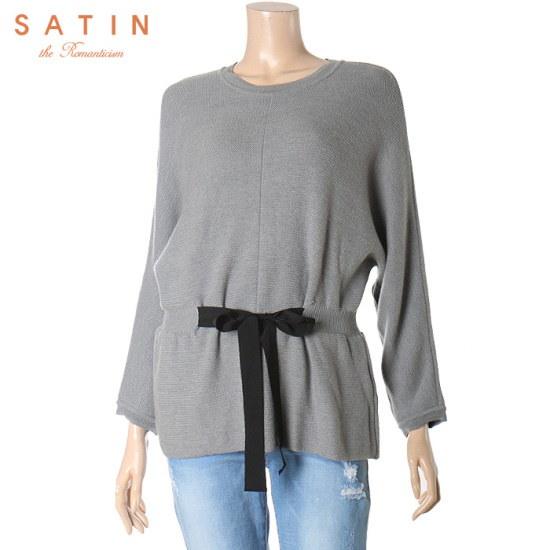 サティンの裾リボン装飾のニートS164S929 ニット/セーター/ニット/韓国ファッション